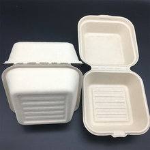sugarcane bagasse and wheat straw Compostable Clamshell Hinged Food Container