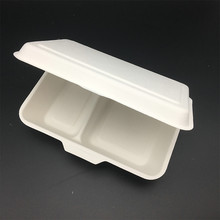 1000ml 2 compartment sugarcane bagasse compostable Clamshell Hinged Food Box