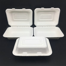 9 inch Compostable bagasse paper pulp Takeaway Hinged lid Food Containers