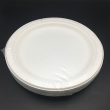 biodegradable Bagasse Round Paper Plates with shrinkage packing