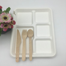 compostable bagasse restaurantware takeout 5 compartment catering trays