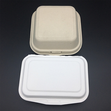 natural fiber unbleached wheat straw hamburger Boxes with hinged lid