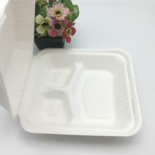9 inch 3 compartment biodegradable bagasse takeout food box with hinged lid