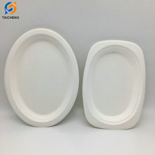 Biodegradable sugarcane bagasse oval plate wholesale