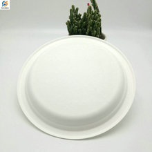 Party Disposable Biodegradable Bamboo Pulp Paper Plate 9 inches 10 inches