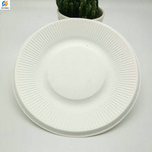 Wholesale Biodegradable Disposable sugarcane bagasse stripped Cake Plate 5 6 7 8 inches