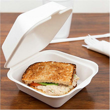 compostable Sugar Cane Fiber Hinged Container sandwich Box