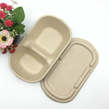2 compartment brown wheat straw unbleached salad fruit box with lid