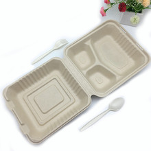 8inch 3compartment heavy duty wheat straw biodegradable oil proof food box