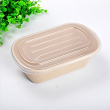 2 compartment wheat straw eco-friendly elegant salad box with lid