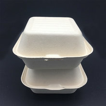 450ml 6 inch biodegradable sugar cane pulp takeout hinged bruger box