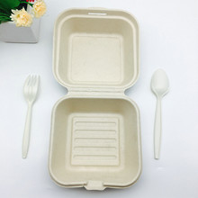 6 inch biodegradable wheat straw natural bruger box clamshell
