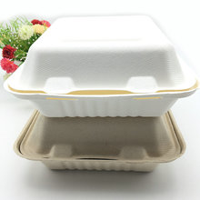 compostable sugarcane molded fiber clamshell take out food container with FDA certified
