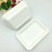 eco-friendly biodegradable sugarcane 1000ml food tray with lid