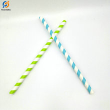 Eco-friendly paper straw in blue stripes decorated paper drinking straws 6mm 8mm