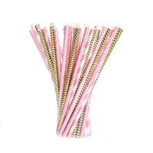Party Wholesale Cocktail Eco Friendly Striped Recycled Drinking Paper Straws
