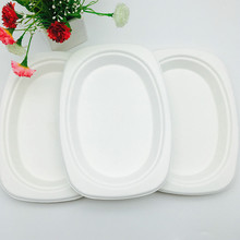 leakproof biodegradable compostable FDA certification white bagasse pulp small oval plate