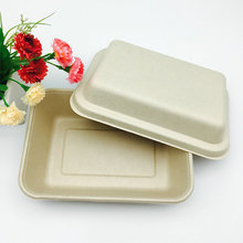 natural color wheat straw biodegradable takeaway to go food box with lid