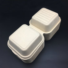 biodegradable foodware sugarcane hinged lid burger box food container