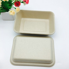 1000ml unbleached brown plant fiber potato box biodegradable to-go food container
