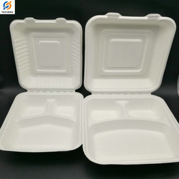 Disposable biodegradable bagasse recycled food container 8 9 inches