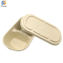 Biodegradable Take Out Food Containers with Clamshell 2-compartment wheat straw fiber Restaurant Carryout box