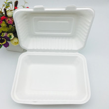 9x6inch biodegradable bagasse takeaway food box with BPI certified