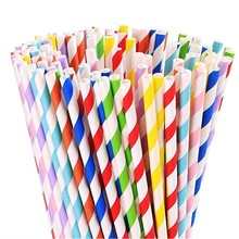 Biodegradable Paper Straws Stripes for Birthdays,Holiday,Weddings,Baby Showers, Celebrations,Parties (Red)