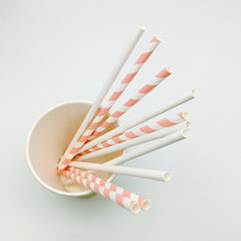 biodegradable Pink Striped Drinking Paper Straw for bar accessories