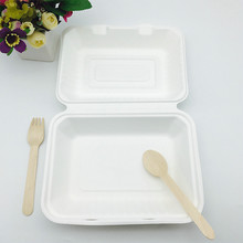 Compostable 9x6 inch Takeaway Food Containers Chamshell made from sugarcane bagasse