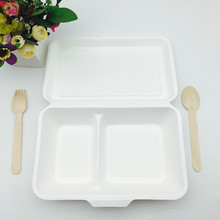 eco-friendly compostable 1000ml 2compartment lunch box made from sugarcane bagasse pulp