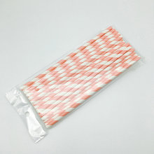 6x197mm pink striped Recycled Paper Straws for bar accessories