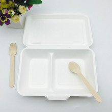 Portable Sugarcane bagasse 2 compartments pulp paper storage food paper box
