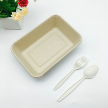 biodegradable natural wheat straw food container 1000ml potato chips tray