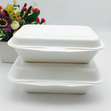 450ml 600ml biodegradable fast food bagasse box togo container with BPI certified