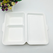 Sugar cane 2 compartments home pulp fast food paper pulp box