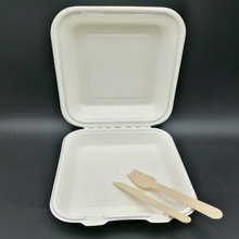 Take Out Boxes Clamshell Hinged Biodegradable To Go Food Containers - 8 inches ,9 inches ,10inches - White