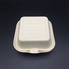 eco-friendly degradable 450ml 6inch paper pulp burger box hinged food packaging