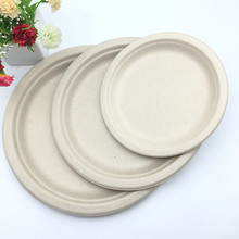 biodegradable sugar cane molded pulp round paper plate