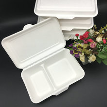1000ml 2 compartment  biodegradable Sugarcane Bagasse  Boxes