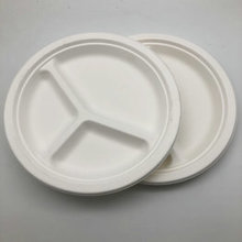Recycled 9Inches 3 Compartment Plate Bagasse Fast Food Tray Sugarcane Plate