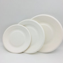 100% Compostable Bagasse Striped Plate 8 inches.