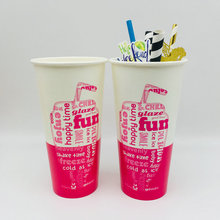 Cold Drink Cup Double PE Paper Cup Disposable Coffee Cups with Straw
