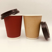 Popular hot drinking cup ripple wall paper cup with lid