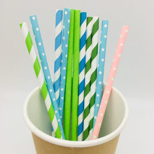 Wholesale Disposable Striped Food Grade  Biodegradable Paper straws