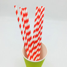 red striped soy ink decorated paper straw with FDA certified