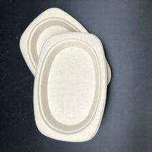 Disposable bagasse white disposable paper oval plate