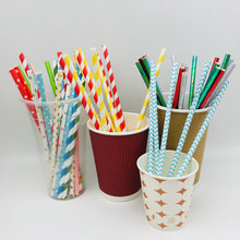 Disposable Color Striped Paper Straw for Christmas