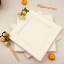 Wholesale Sugarcane Pulp Bagasse 100% Biodegradable Square Plate.