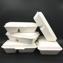 Sugarcane Bagasse Biodegradable Compostable Lunch Box 1000ml, 2comp Box